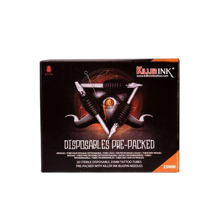20 Mixed kertakäyttö grippi  / 25mm  gripit ja valmiiksi pakatut  Precision Bug Pin neulat