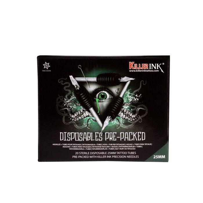 20 Mixed kertakäyttö grippi  / 25mm  gripit ja valmiiksi pakatut  Killer Ink Precision neulat
