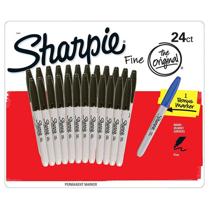 Box of 24 Sharpie Fine Point Black Markers Plus 1 Blue Marker