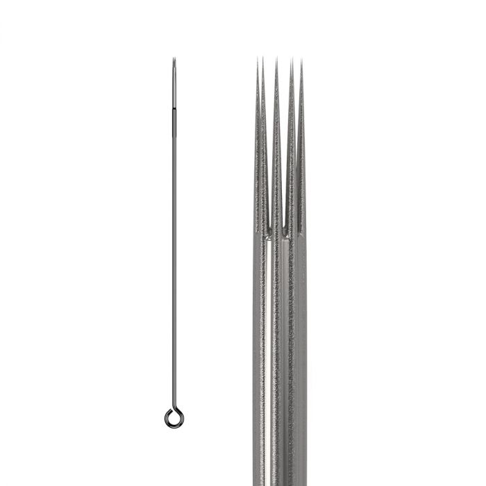 50kpl KWADRON neulat 0.35mm  LONG TAPER BUGPIN TEXTURED - Round Shader